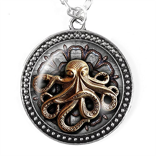 Steampunk Octopus Necklace, Silver Pendant with Domed Glass