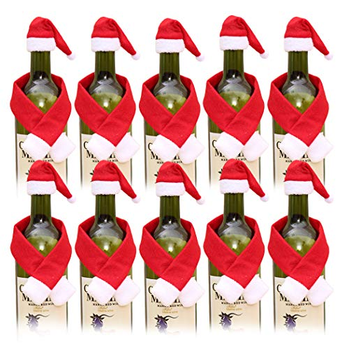 JUSTDOLIFE Wine Bottle Cover, 20PCS Christmas Bottle Covers Hat Cover Scarf Cover for Xmas Party Kitchen Table Decor Hotel Bar