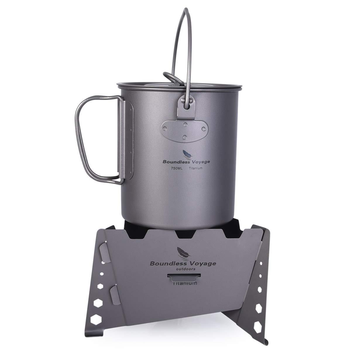 usharedo Outdoor 750ml Titanium Pot with Lid Folding Handle Camping Hiking Picnic Ultralight Portable Water Bottle Cup Mug Spork Set by usharedo