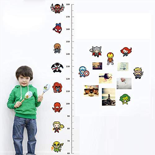 Cartoon Iron Man Avengers Captain Spiderman Movie Hero Home Decal Kids Room Height Measure Growth Chart Wall Stickers