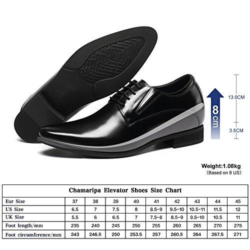 Chamaripa Mens Oxford Hoogte Toenemende Lift Schoenen 3,15 Groter H62d11k011d Zwart