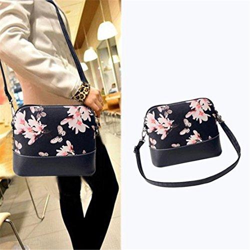 Kafe Loveso Damen Frauen Blumenmuster Schwarz Leder Umhängetasche Handtasche