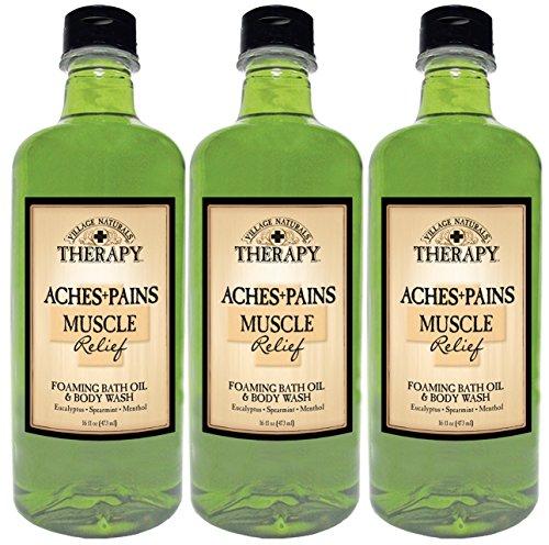 Village Naturals thérapie douleurs et huile de bain moussant de douleurs musculaire soulagement et lavage de corps 16oz (lot de 3)