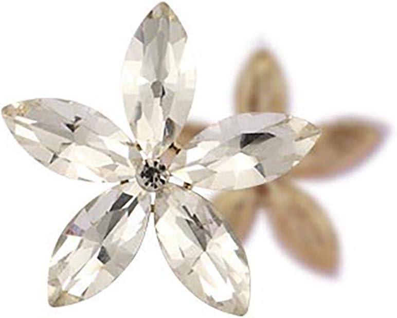 ANRUX 10 piezas 26 mm ojo de caballo flor coser en diamantes de imitación piedras preciosas para manualidades vestido, ropa, zapatos, decoración de bolsos, blanco
