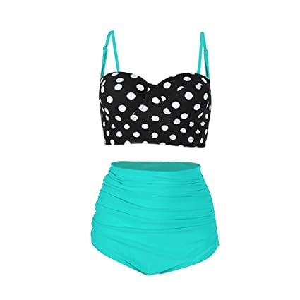 f3133b7bf7a7b Amazon.com: Women's Bikini Sets,Jushye Ladies Sexy Vintage Bathing Suits  Retro Dot Print Halter Underwired Swimwear (XL, Green): Musical Instruments
