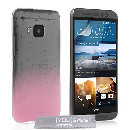 Yousave Accessories HTC One (M9) 2015 Case Baby Pink / Clear Raindrop Hard Cover