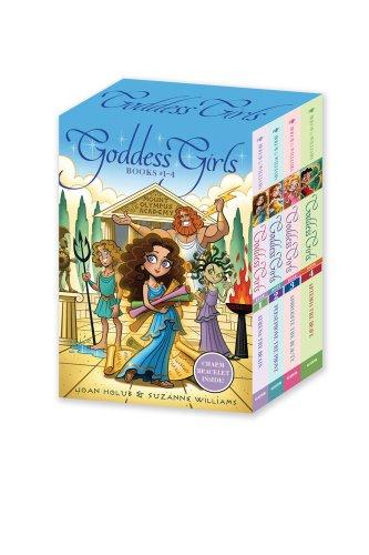 Goddess Girls Books #1-4 (Charm Bracelet Inside!): Athena the Brain; Persephone the Phony; Aphrodite the Beauty; Artemis the (Roman Godess)