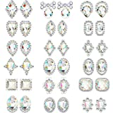 Bememo 36 Pieces 3D Nail Art Rhinestones Crystal Glass Metal Gem Stones Manicure Studs Nail Tips for Nail Art DIY (Style 1)