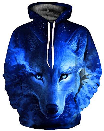 GLUDEAR Unisex Realistic 3D Digital Print Pullover Hoodie Hooded Sweatshirt,Blue Wolf,L/XL -
