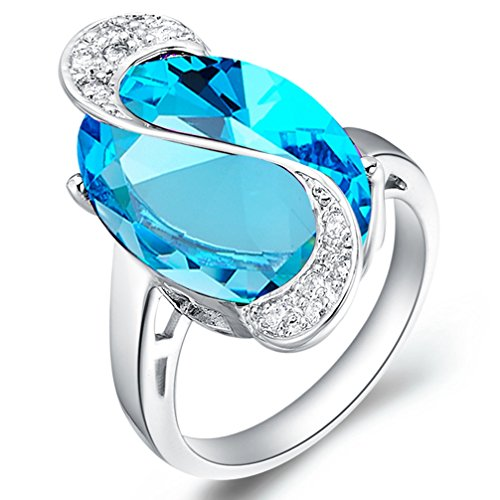 FENDINA Womens Silver Plated Pretty Solitaire Big Sky Blue CZ Diamond Crystal Wedding Engagement Bands Ring Girlfriend Promise Rings for Her Size (Big Sky Silver Jewelry)