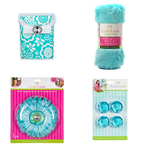 Locker Lookz School Locker Organizer and Accessory Aqua Teal Design Set of 4