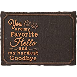 Whitehall My Favorite Hello Pet Photo Wall Sign - Decorative Keepsake Plaque with Animal Paw Prints and Picture Clip - Oil Bronze