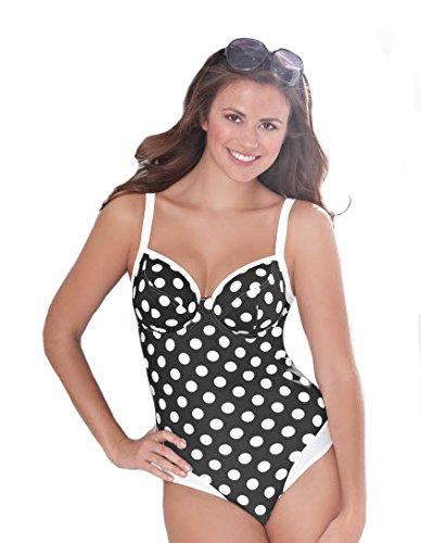 59a937bbc2 Ladies Ex Bravissimo 1950s Underwired Dotty Swimsuit. Black-Size 32DD:  Amazon.co.uk: Clothing