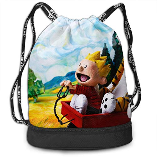 PSnsnX Backpack Calvin And Hobbes Sports Gym Cinch Sack Bag For Girls Boys Women Sackpack Dance -