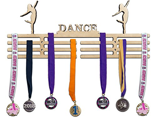 Arena Gifts Wooden Dance Medal Hanger Display - Dance - Medal Holder Rack - Perfect Gift Idea for Ballet Jazz Modern Contemporary Dancers - Displays Up to 24 Medals or (Unique Group Costume Ideas For Work)