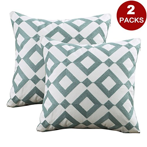 (PRAVIVE Embroidered Pillow Covers Pillowcases - Geometric Diamond Pattern Cushion Shells for Sofa Bed Car Chair,Cushion Covers 100% Cotton,18