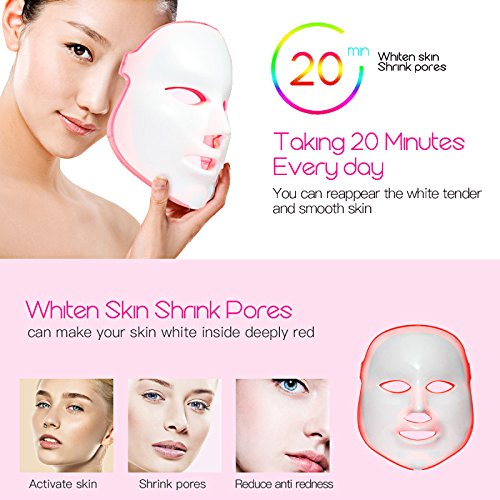 Phototherapy Trichromatic Color LED Mask Instrument Cold Light LED electronic Mask Instrument Professional Beauty Rejuvenation Instrument Therapy Facial Skin Care Mask Device by Simpled (Image #3)