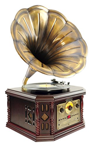 Pyle PVNP48BCD Vintage Bluetooth Turntable System, Gramophone/Phonograph Style by Pyle