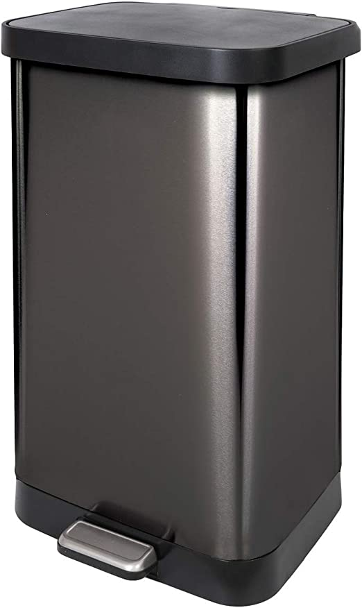 Amazon Com Glad 20 Gallon 75 5 Liter Extra Capacity Stainless Steel Step Trash Can With Cloroxtm Odor Protection Pewter Home Kitchen