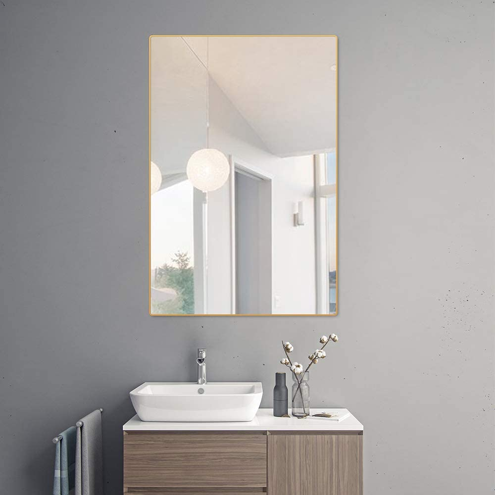 belle electrical Wall Mounted Bathroom Mirrors 36X24, Thin Large Modern Rectangular Aluminum Metal Frame Makeup Bathroom Mirrors for Wall, Gold Round Corner Mirror Hangs in Vertically or Horizontally: Home & Kitchen
