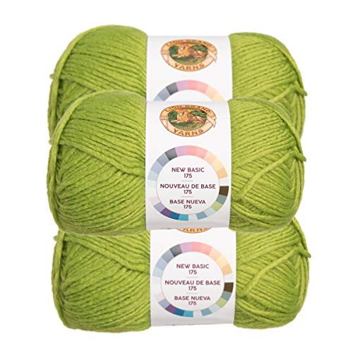 Solid Yarn Grass - Lion Brand (3 Pack) New Basic Acrylic & Wool Soft Grass Green Yarn for Knitting Crocheting Medium #4