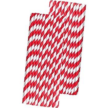 Biodegradable Paper Straws Retro Red /& White Stripe Premium Biodegradable x 6mm