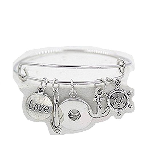 Silver Sealife Anchor Helm Boat Love Wire Ginger Snap Charm Bracelet