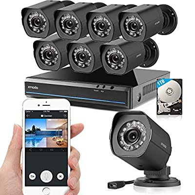 Zmodo sPoE 8CH 1080p HDMI Simplfied All-in-One Cable NVR Surveillance Video Security Camera System with 8 × 720P HD Weatherproof Cameras 1TB HD Remote Access Motion Detection