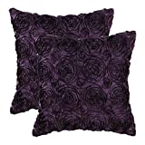 Purple Throw Pillows Pack of 2 CaliTime Cushion Covers Throw Pillow Cases Shells for Couch Sofa Home, Solid Stereo Roses Floral, 18 X 18 Inches, Deep Purple