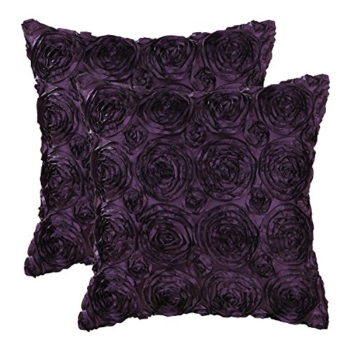 Pack of 2 CaliTime Cushion Covers Throw Pillow Cases Shells for Couch Sofa Home, Solid Stereo Roses Floral, 18 X 18 Inches, Deep Purple (Accent Chair Plum)