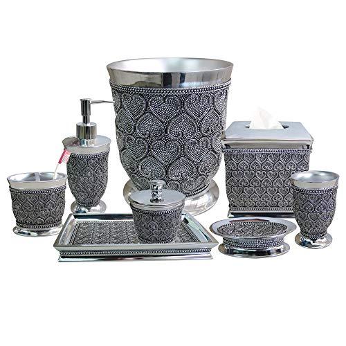 nu steel BHT-8PC/Set Beaded Heart Elegant Decoration Collection Bathroom Accessories, 8 Bath Set Large, Shiny Resin
