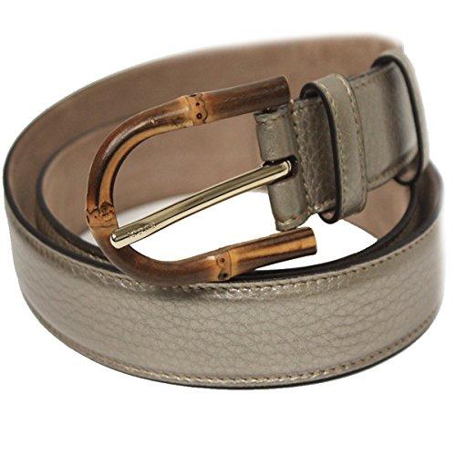 Gucci Women's Bamboo Buckle Leather Belt 322954 (85/34, Golden Beige)