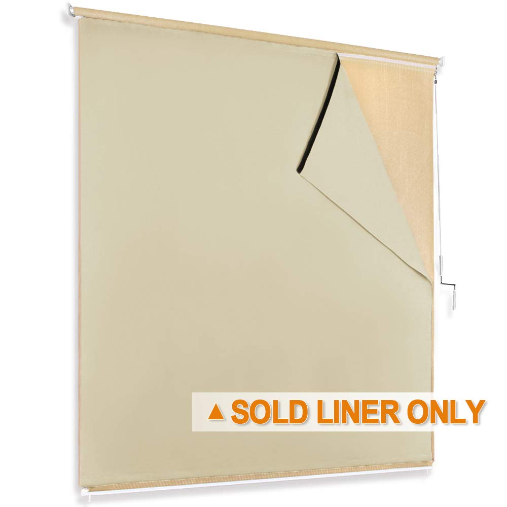 RYB HOME Sun Blocking Curtain Blind Cordless Window Shades Liner for Indoor Outdoor Use Without Curtain Rod, with Bouns Sticky Strap for Easy Installation, Width 6ft by Length 6ft, Biscotti Beige