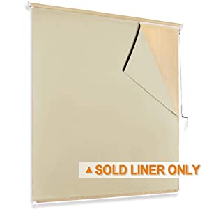 RYB HOME Outdoor Roll up Blackout Curtain for Porch, Match with Outdoor Roller Shades Screen for Sunlight/UV Blocking Weather Resist for Gazebo Exterior Space, W 4ft x L 6ft, Biscotti Beige