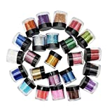 Lurrose 24 Colors Nail Art Powder Gradient Nail Art Pigment Glitter Dust Powder Set