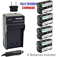 Kastar NP-FM500H Battery (4-Pack) and Charger Kit for Sony DSLR-A100/A200/A300/A350/A450/A500/A550/A560/A580/A700/A850/A900 Alpha SLT A57 A58 A65 A65V A77 A77V A77 II A77M2 A99 A99V CLM-V55 Cameras