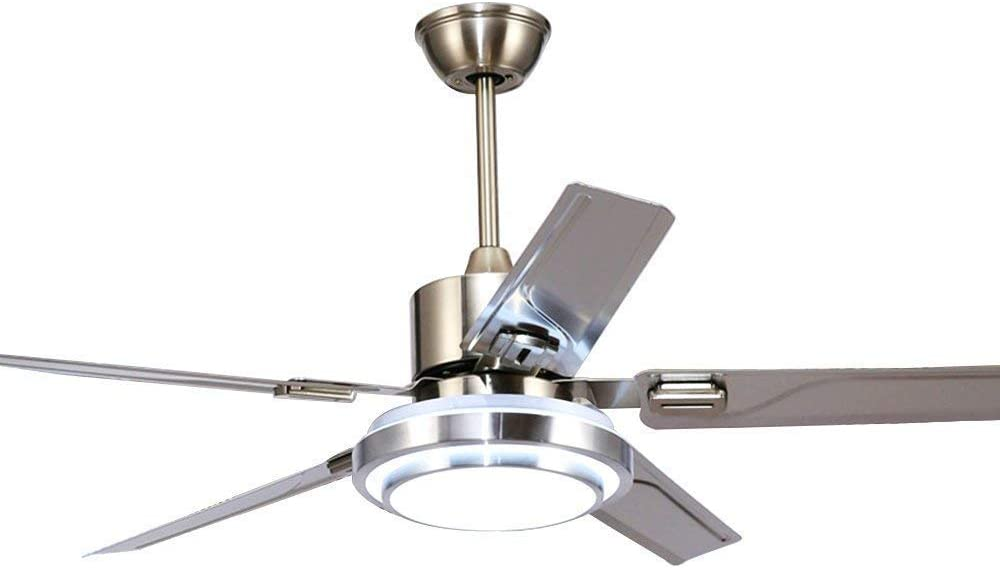 Fandian 52 Modern Ceiling Fans with light Reversible 5 Stainless Steel Blades Three speeds and Three Color changes Lighting Fixture with LED Board 52inch