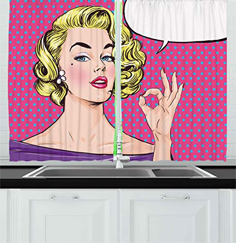 Ambesonne Vintage Kitchen Curtains, Pop Art Blonde