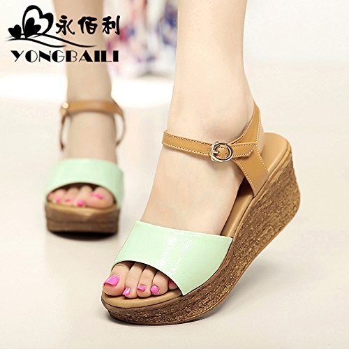 Xing Lin Ladies Sandals Summer New Fashion Leather Sandals With Thick Bottom And Open Toe Casual High Heel Shoes Light green wrinkle paint plus shallow apricot 93RdHer