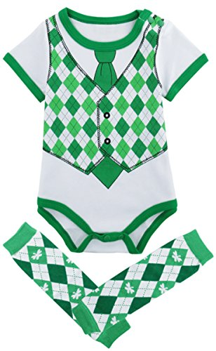 St Patricks Day Baby Shower - Mombebe Baby Boys' St. Patrick's Day Bodysuit with Leg Warmers (Gentleman, 0-3 Months)