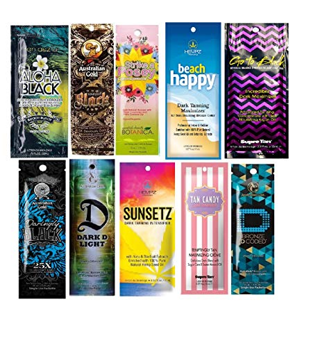10 New Tanning Lotion Sample Packets – Major Brands Bronzer & Intensifier – 10 Assorted Packets