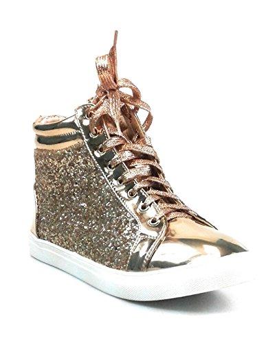 Per Sempre Link Womens Glitter Fashion Sneakers (7, Rose Gold Sparkle-25)