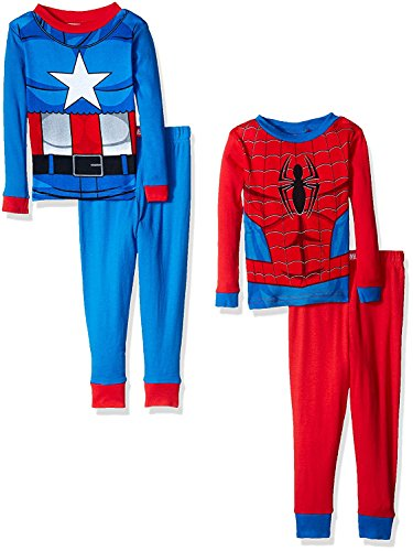 Marvel Boys' Toddler Spiderman and Capt. America Uniform 4-Piece Cotton Pajama Set, Cool Blue, 2T