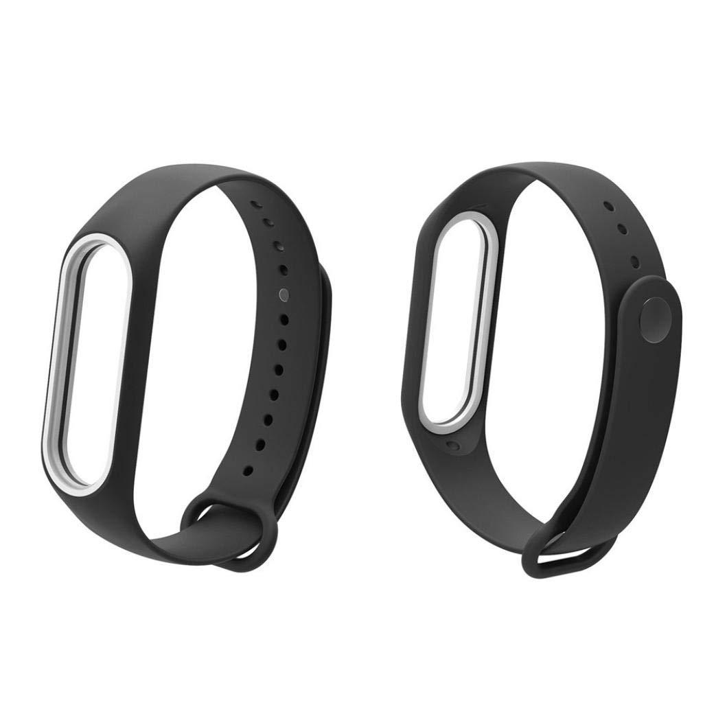 Pulsera Xiaomi Mi Band 3 Correas, ☀️Modaworld Banda de Reloj de Correa de Pulsera de Silicona TPE Silicona Suave reemplazo para Xiao Mi Band 3 (Negro): ...