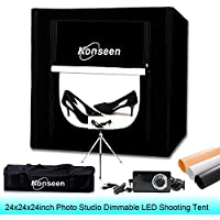 Photo Studio Shooting Tent Box 24x24x24 Dimmable LED Table Top 5500K Lightbox Softbox Kits for Photography Lighting with Dimmer,Mini Tripod and 3 Color PVC Backdrops