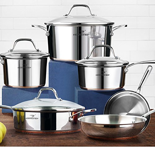 HOMI CHEF 10-Piece Mirror Polished Copper Band NICKEL FREE Stainless Steel Cookware Pots and Pans Sets (No Toxic Non Stick Coating, 2 Frying Pans +1 Saute Pan +2 Sauce Pans +1 Stock Pot) 20171 by HOMICHEF