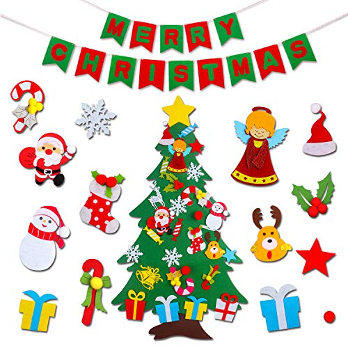 JOKBEN 3.3 ft DIY Felt Christmas Tree Set, with Merry Christmas Felt Banner Wall Hanging Christmas Decorations with 30pcs Detachable Ornaments Xmas Gifts for Child