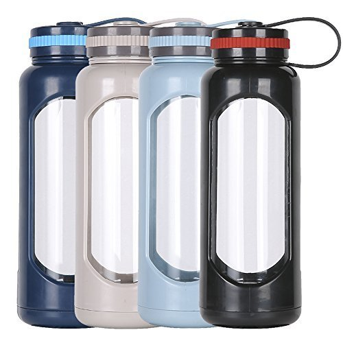 Water Bottle PC Sleeve Leak Proof Lid 1L Capacity BPA Free to-Go Travel/at Home/Office/  Picnics/Fitness/ Yoga/Reusable Safe Hot Liquids Tea Coffee Daily Intake Drink ()