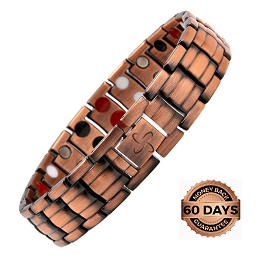 Reevaria Mens Elegant Guaranteed 99.9% Pure Copper 4 in 1 Magnetic Therapy Bracelet Pain Relief for Arthritis and Carpal Tunnel