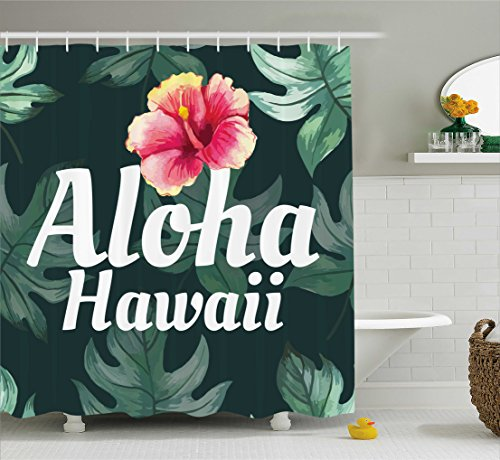 Hawaiian Home Decorations (Ambesonne Hawaiian Decorations Collection, Monstera Leaves Branch Traditional Flourish Greenery Watercolor Painting Effect, Polyester Fabric Bathroom Shower Curtain Set with Hooks, Pink Green)